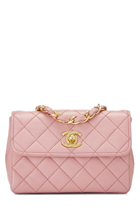 Pink Quilted Lambskin Half Flap Micro, , large image number 0