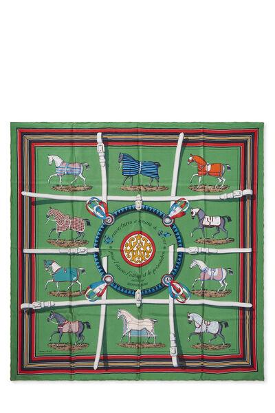 Green & Multicolor 'Couvertures et Tenues du Jour' Silk Scarf 90