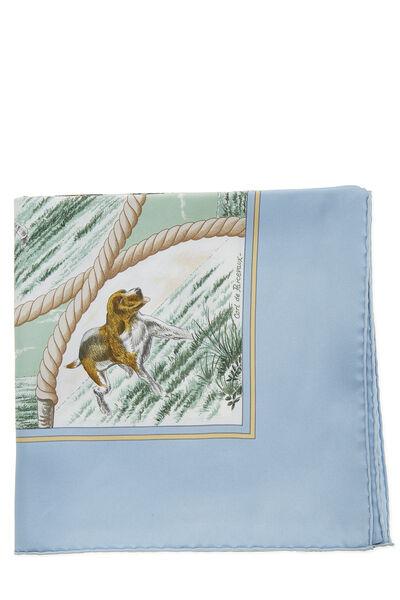Blue & Multicolor 'Auteuil en Mai' Silk Scarf 90, , large