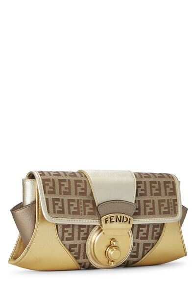 Metallic Leather & Zucchino Canvas Compilation Clutch, , large