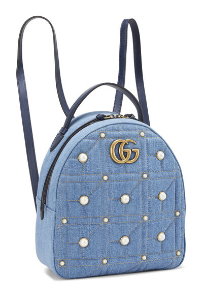 Blue Denim 'GG' Marmont Backpack Small, , large