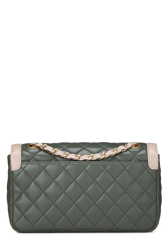 Green & Pink Quilted Lambskin Two Tone Flap Bag Small, , large image number 3