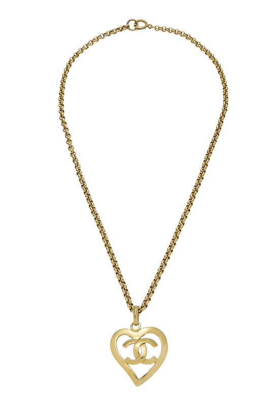 Gold 'CC' Open Heart Necklace, , large image number 0