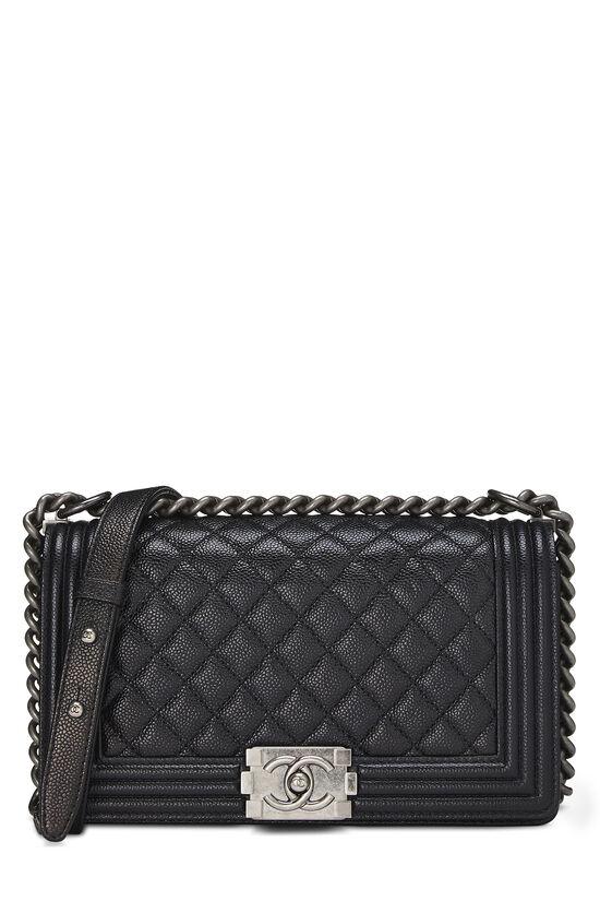 Black Quilted Caviar Boy Bag Medium, , large image number 0