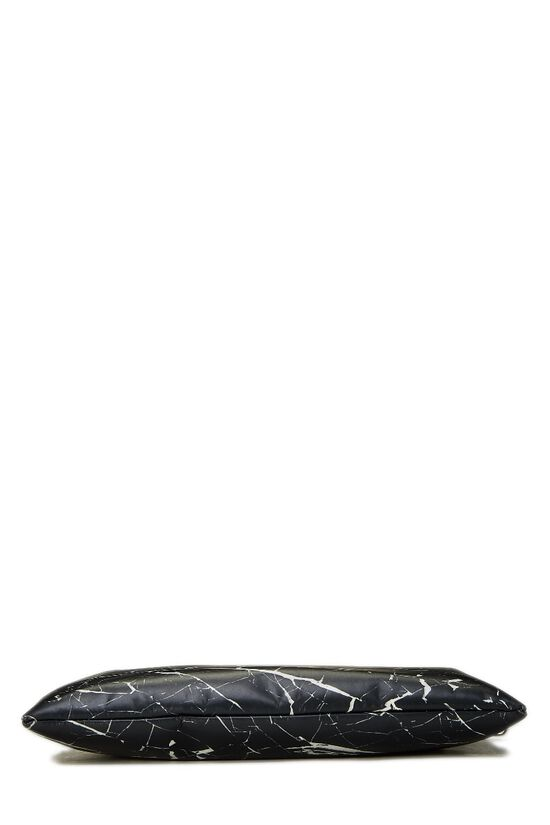 Black & White Marble Leather Phileas Clutch, , large image number 4