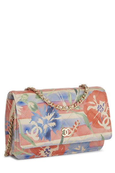 Multicolor Floral Quilted Lambskin Wallet on Chain (WOC), , large