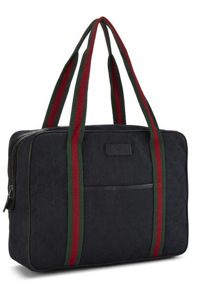 Black GG Canvas Web Briefcase, , large
