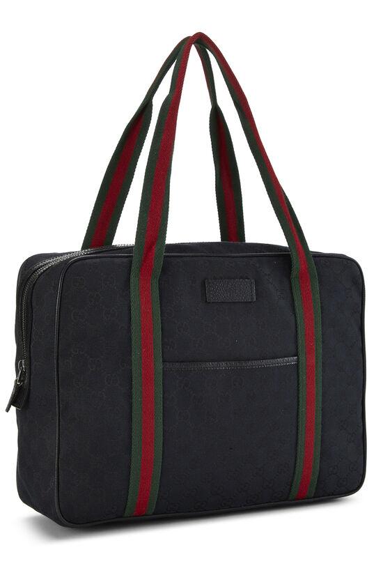 Black GG Canvas Web Briefcase, , large image number 1