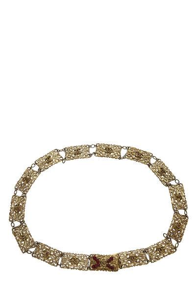 Red Beaded & Gold Filigree Chain Belt