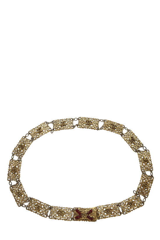 Red Beaded & Gold Filigree Chain Belt, , large image number 0
