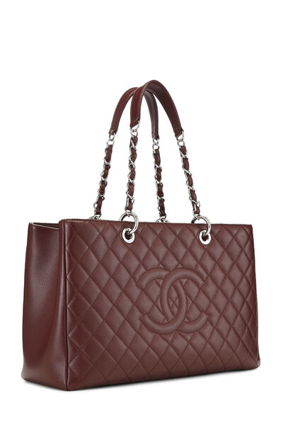 Burgundy Quilted Caviar Grand Shopping Tote (GST) XL , , large