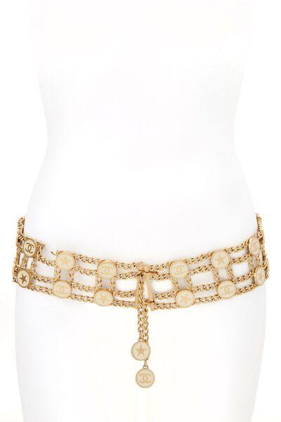 Gold & White Enamel Star Chain Belt