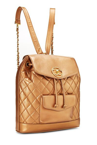 Bronze Quilted Lambskin Backpack Large, , large