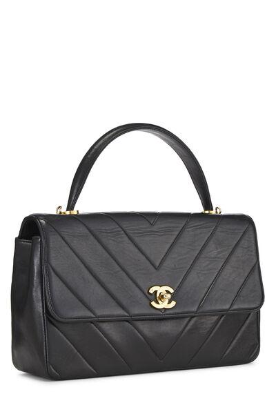Black Chevron Lambskin Top Handle Bag, , large