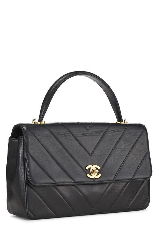 Black Chevron Lambskin Top Handle Bag, , large image number 1