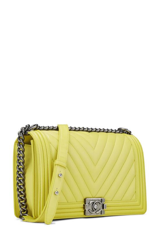 Yellow Chevron Lambskin Boy Bag Medium, , large image number 2