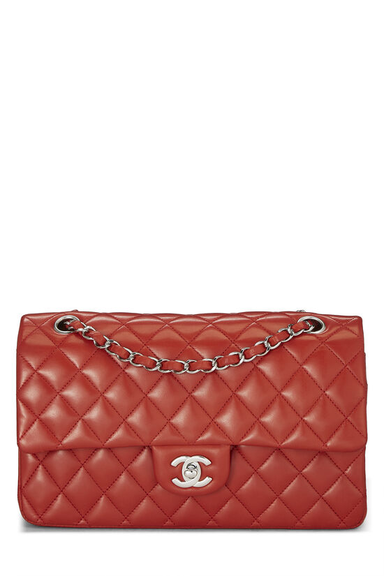 Red Quilted Lambskin Classic Double Flap Small, , large image number 0