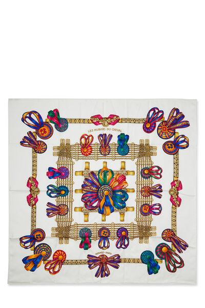 White & Multicolor 'Les Rubans du Cheval' Silk Scarf 90