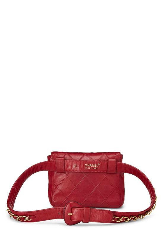Red Quilted Lambskin Chain Belt Bag Small, , large image number 3