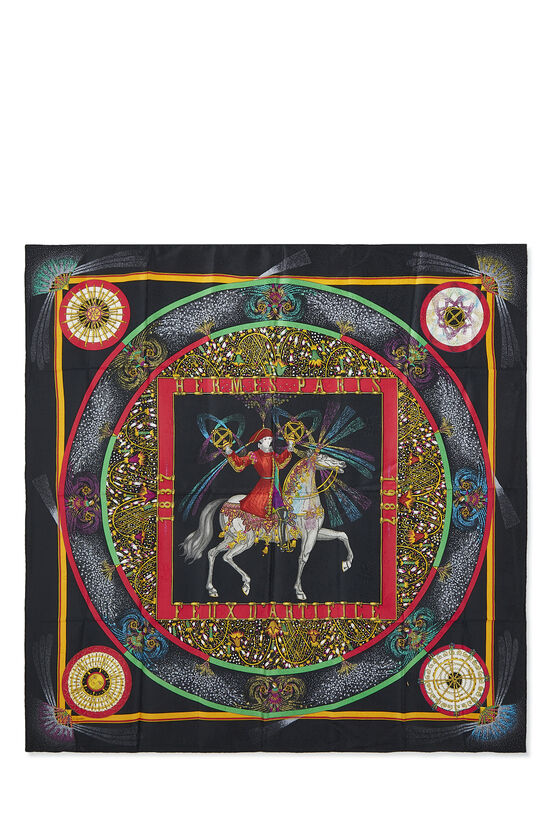 Black & Multicolor 'Feux d'Artifice' Silk Scarf 90, , large image number 0