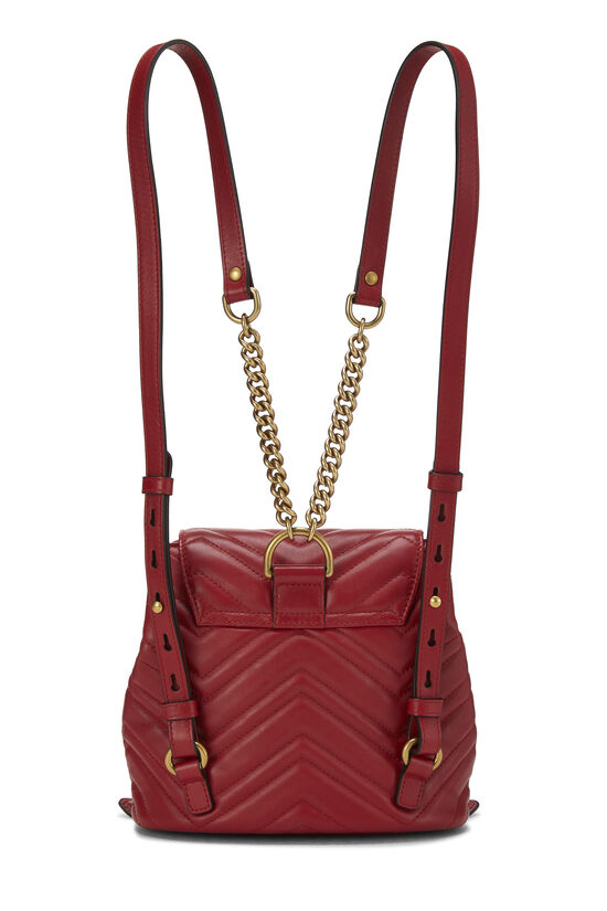 Red Leather 'GG' Marmont Backpack Small, , large image number 3