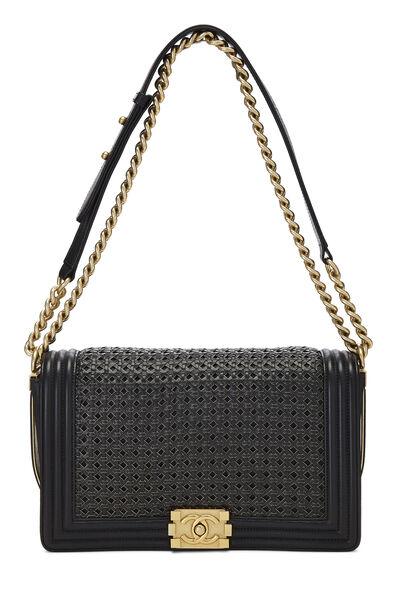 Black Woven Calfskin Reverso Boy Bag Medium, , large
