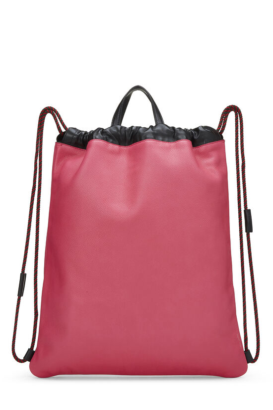 Pink Leather Drawstring Backpack Large, , large image number 3
