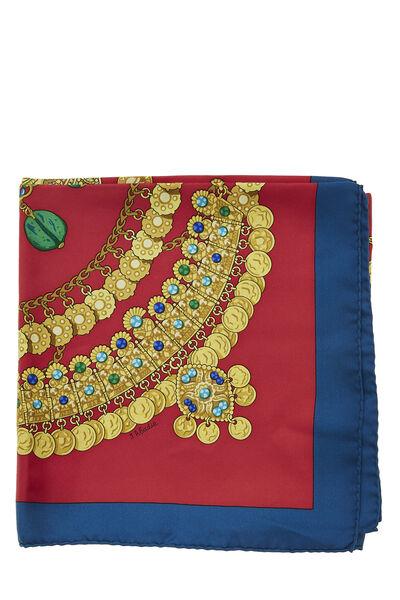 Red & Multicolor 'Kosmima' Silk Scarf 90, , large