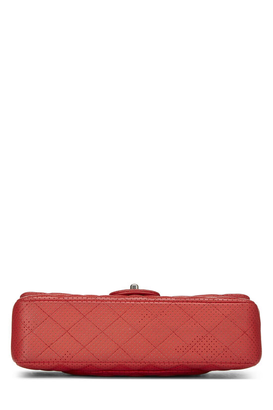 Red Perforated Lambskin Classic Double Flap Medium, , large image number 4