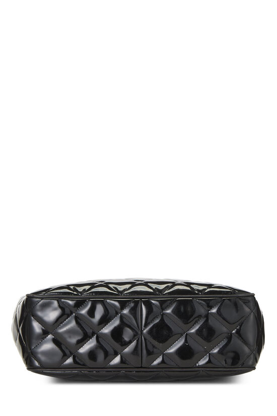 Black Quilted Patent Leather Tote Small, , large image number 4