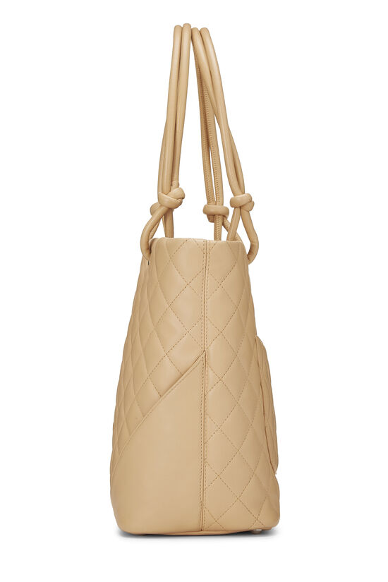 Beige Quilted Calfskin Cambon Ligne Tote Small, , large image number 2