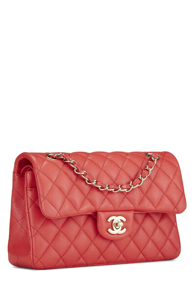 Red Quilted Caviar Classic Double Flap Small, , large
