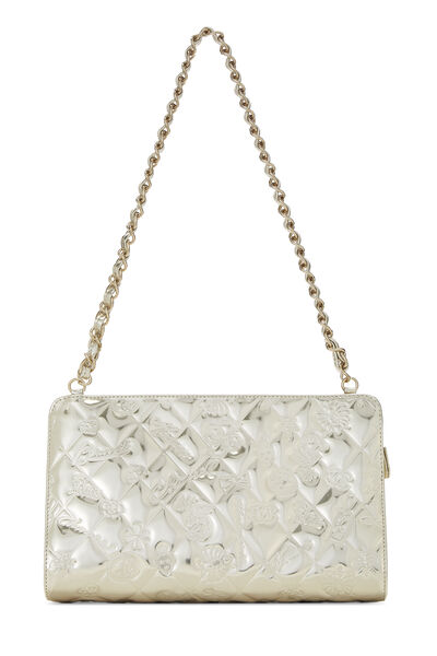 Gold Patent Leather Lucky Charms Shoulder Bag Small