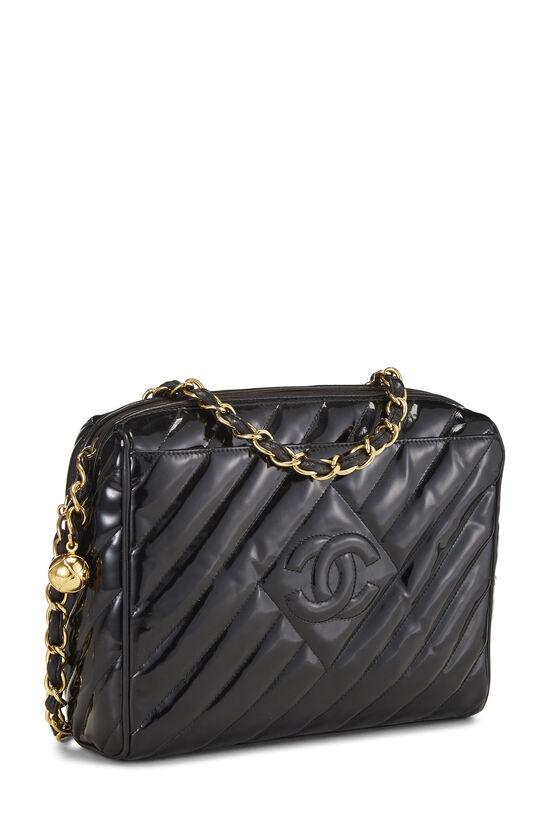 Black Patent Leather Diagonal Camera Bag Large, , large image number 2