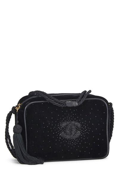 Black Velvet Beaded 'CC' Camera Bag Small, , large