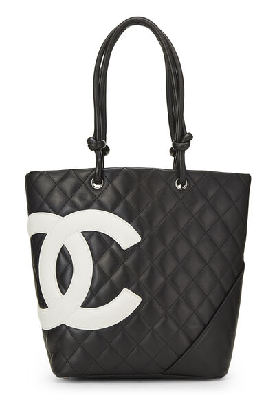 Black Quilted Calfskin Cambon Tote Small