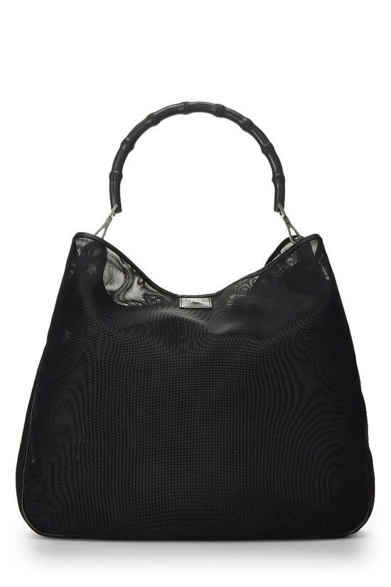 Black Mesh Bamboo Shoulder Bag, , large image number 3