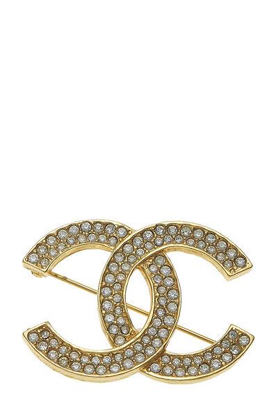 Gold Crystal 'CC' Pin
