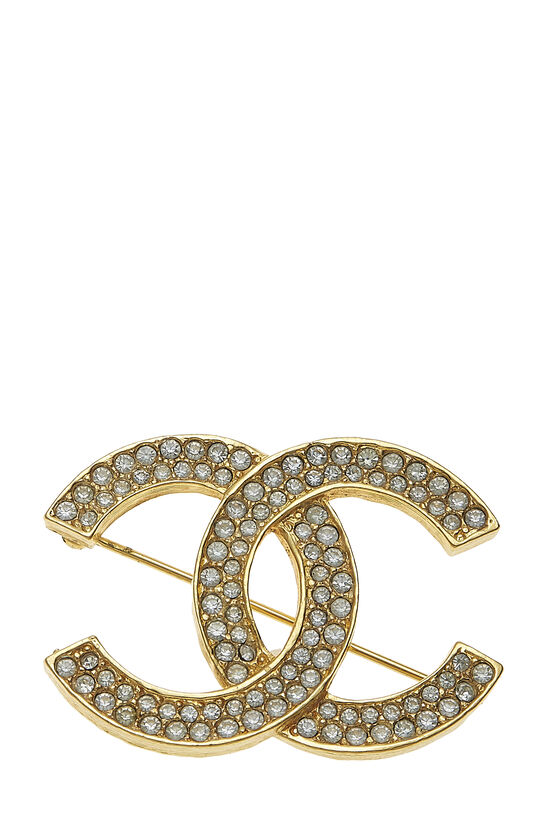 Gold Crystal 'CC' Pin, , large image number 0