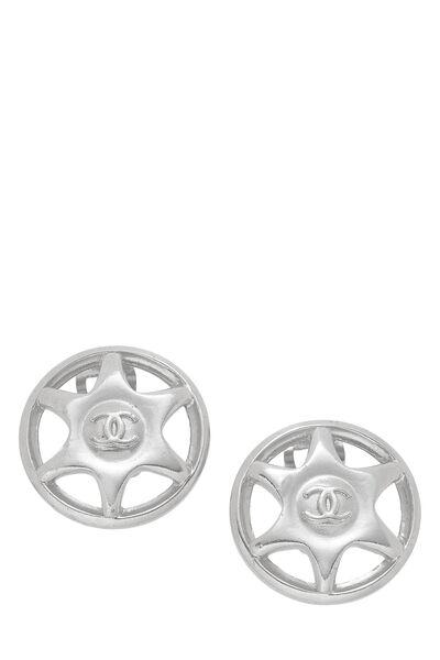 Silver Star Badge Earrings