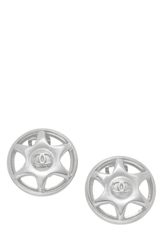 Silver Star Badge Earrings, , large image number 0