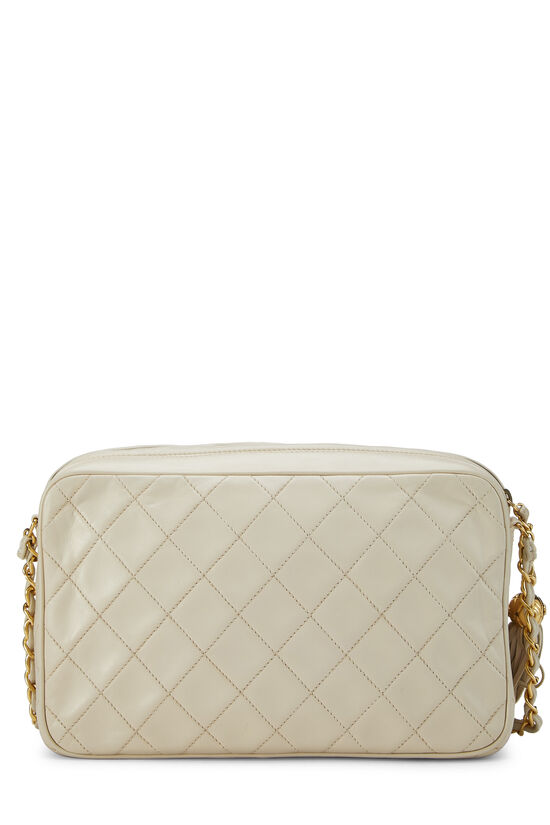 Cream Quilted Lambskin 'CC' Camera Bag Large, , large image number 4