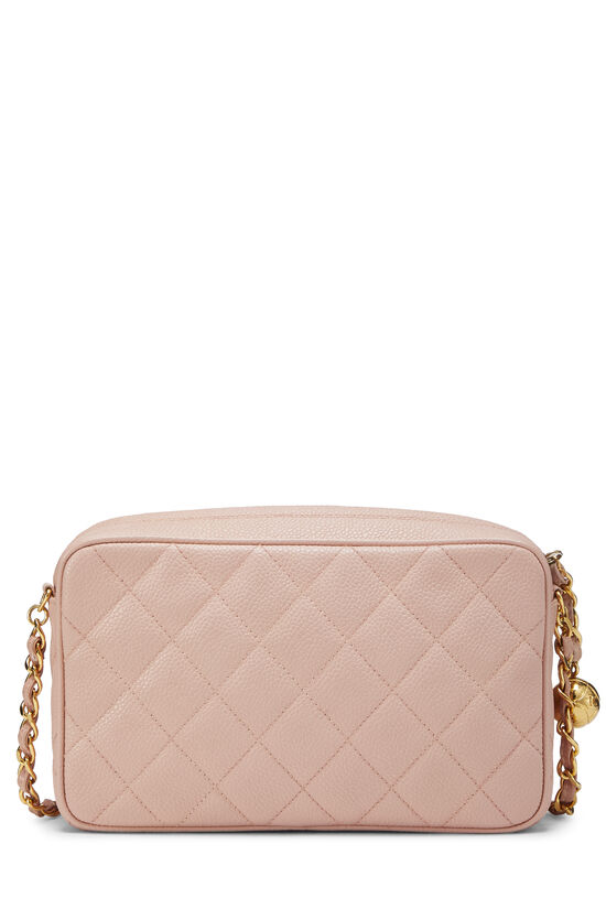 Pink Quilted Caviar Diamond Camera Bag Small , , large image number 3