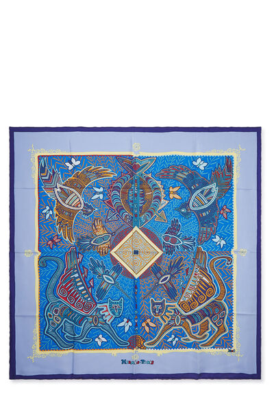 Purple & Multicolor 'Legende Kuna Peuple de Panama' Silk Scarf 90