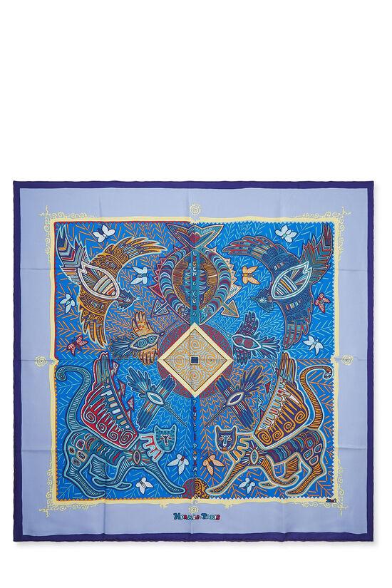 Purple & Multicolor 'Legende Kuna Peuple de Panama' Silk Scarf 90, , large image number 0