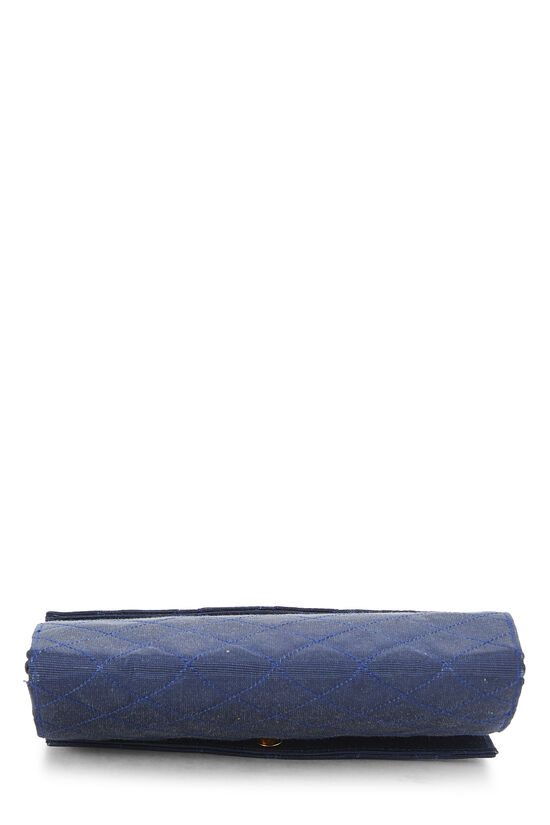 Navy Quilted Fabric Faille Handbag, , large image number 4