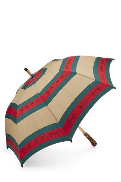 Brown & Web Striped Canvas Parasol, , large